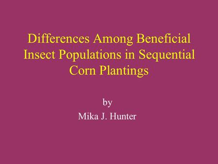 Differences Among Beneficial Insect Populations in Sequential Corn Plantings by Mika J. Hunter.