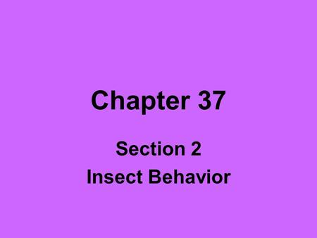 Section 2 Insect Behavior