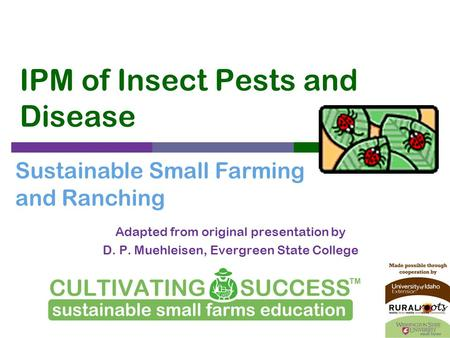 Sustainable Small Farming and Ranching IPM of Insect Pests and Disease Adapted from original presentation by D. P. Muehleisen, Evergreen State College.