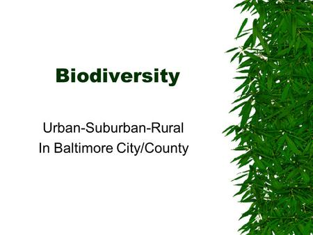 Biodiversity Urban-Suburban-Rural In Baltimore City/County.