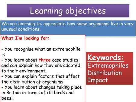 Learning objectives We are learning to: appreciate how some organisms live in very unusual conditions. What I'm looking for: - You recognise what an extremophile.