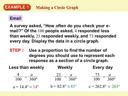 "EXAMPLE 1 Making a Circle Graph Email A survey asked, ""How often do you check your e- mail?"" Of the 100 people asked, 4 responded less than weekly, 23."