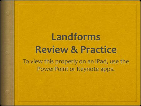 Landforms Review & Practice