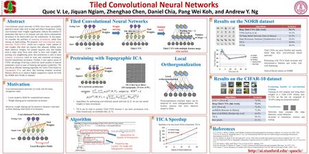 Tiled Convolutional Neural Networks TICA Speedup Results on the CIFAR-10 dataset Motivation Pretraining with Topographic ICA References [1] Y. LeCun, L.