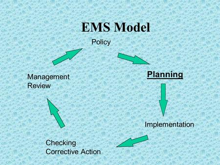 EMS Model Policy Planning Implementation Checking Corrective Action Management Review.