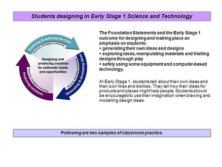 Following are two samples of classroom practice. The Foundation Statements and the Early Stage 1 outcome for designing and making place an emphasis on.