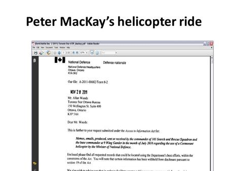 "Peter MacKay's helicopter ride. ""the (minister) is fishing …"""