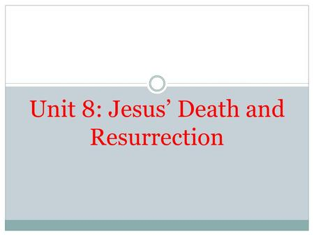 Unit 8: Jesus' Death and Resurrection. Transfiguration 2 Mark 9:2-13 Transfiguration: At the Transfiguration Peter, James and John see Jesus in his full.