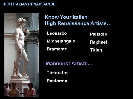 Know Your Italian High Renaissance Artists…