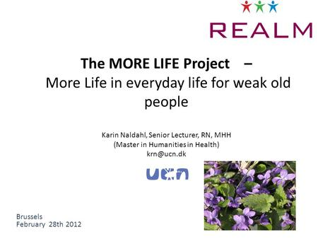 The MORE LIFE Project – More Life in everyday life for weak old people Karin Naldahl, Senior Lecturer, RN, MHH (Master in Humanities in Health)