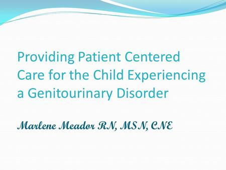 Providing Patient Centered Care for the Child Experiencing a Genitourinary Disorder Marlene Meador RN, MSN, CNE.