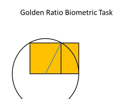 "Golden Ratio Biometric Task. Background Euclid of Alexandria (300 B.C.) defined the golden ratio in his book, ""Elements."""