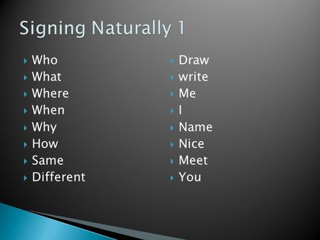  Who  What  Where  When  Why  How  Same  Different  Draw  write  Me  I  Name  Nice  Meet  You.