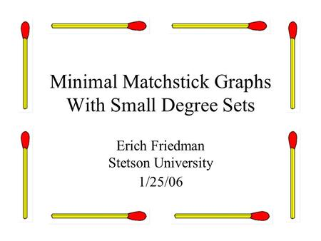 Minimal Matchstick Graphs With Small Degree Sets Erich Friedman Stetson University 1/25/06.