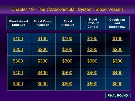 Chapter 19 - The Cardiovascular System: Blood Vessels $100 $200 $300 $400 $500 $100$100$100 $200 $300 $400 $500 Blood Vessel Structure Blood Vessel Function.