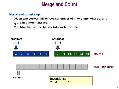 1 101418193716172325211 Merge and Count Merge and count step. n Given two sorted halves, count number of inversions where a i and a j are in different.