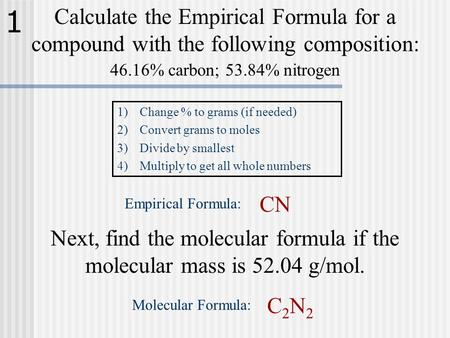 Calculate the Empirical Formula for a compound with the following composition: 46.16% carbon; 53.84% nitrogen 1)Change % to grams (if needed) 2)Convert.
