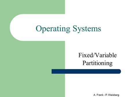 Fixed/Variable Partitioning