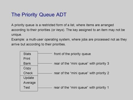 The Priority Queue ADT A priority queue is a restricted form of a list, where items are arranged according to their priorities (or keys). The key assigned.