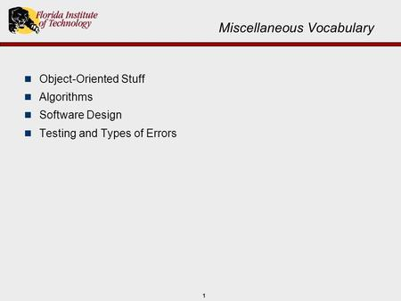 1 Miscellaneous Vocabulary Object-Oriented Stuff Algorithms Software Design Testing and Types of Errors.