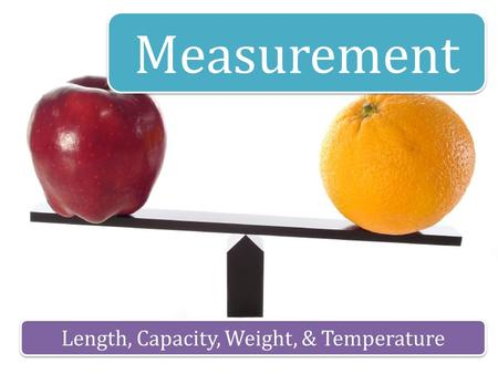 Measurement Length, Capacity, Weight, & Temperature.