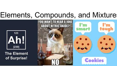 Elements, Compounds, and Mixtures. What are the basic differences? Element Any substance that contains only one kind of atom Cannot be broken down Compound.