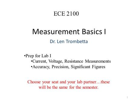 Measurement Basics I Dr. Len Trombetta 1 ECE 2100 Prep for Lab I Current, Voltage, Resistance Measurements Accuracy, Precision, Significant Figures Choose.