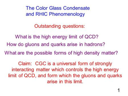 The Color Glass Condensate and RHIC Phenomenology Outstanding questions: What is the high energy limit of QCD? How do gluons and quarks arise in hadrons?