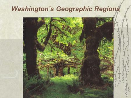 Washington's Geographic Regions