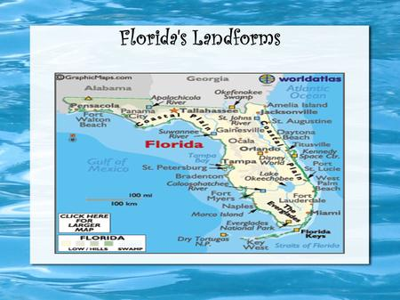 Florida's Landforms. The Everglades The Florida Everglades are subtropical wetlands located in the southern portion of the state Florida. They are 1,200.