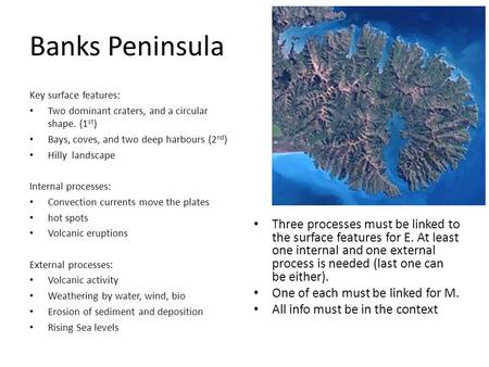 Banks Peninsula Key surface features: Two dominant craters, and a circular shape. (1 st ) Bays, coves, and two deep harbours (2 nd ) Hilly landscape Internal.