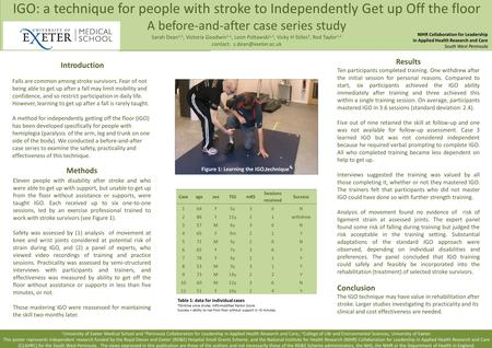 IGO: a technique for people with stroke to Independently Get up Off the floor A before-and-after case series study Sarah Dean 1,2, Victoria Goodwin 1,2,