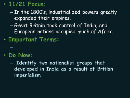 Imperialism Test Review Topics to know for the Test Motives for the New Imperialism Forms of Imperialism Imperialism in Africa Imperialism in Muslim.