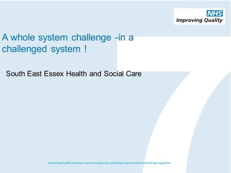 A whole system challenge -in a challenged system ! South East Essex Health and Social Care.