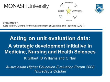 Acting on unit evaluation data: A strategic development initiative in Medicine, Nursing and Health Sciences K Gilbert, B Williams and C Nair Australasian.