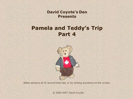 © 2004-2007 David Coyote David Coyote's Den Presents Pamela and Teddy's Trip Part 4 Slides advance at 30 second intervals, or by clicking anywhere on the.