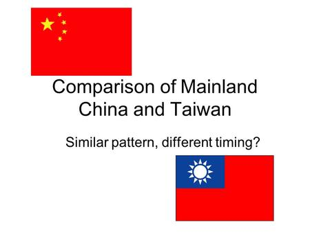 Comparison of Mainland China and Taiwan Similar pattern, different timing?