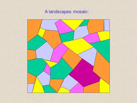 A landscapes mosaic:. Only some pieces of the mosaic are suitable for a given species: