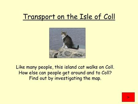 Transport on the Isle of Coll Like many people, this island cat walks on Coll. How else can people get around and to Coll? Find out by investigating the.