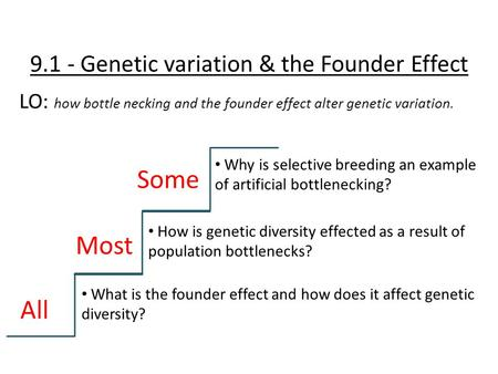 9.1 - Genetic variation & the Founder Effect LO: how bottle necking and the founder effect alter genetic variation. All Most Some What is the founder effect.