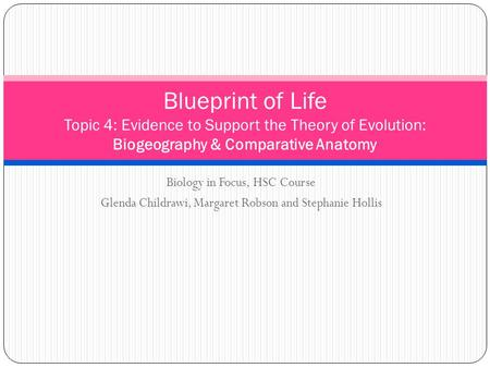 Blueprint of Life Topic 4: Evidence to Support the Theory of Evolution: Biogeography & Comparative Anatomy Biology in Focus, HSC Course Glenda Childrawi,