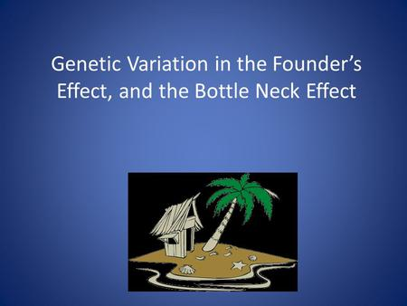 Genetic Variation in the Founder's Effect, and the Bottle Neck Effect.