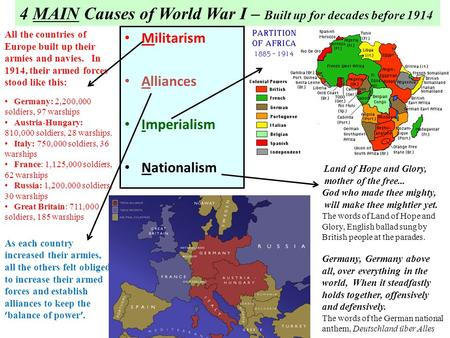 Militarism Alliances Imperialism Nationalism 4 MAIN Causes of World War I – Built up for decades before 1914 All the countries of Europe built up their.