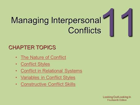 Managing Interpersonal Conflicts