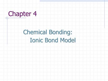 Chapter 4 Chemical Bonding: Ionic Bond Model.
