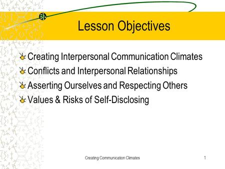 Creating Communication Climates1 Lesson Objectives Creating Interpersonal Communication Climates Conflicts and Interpersonal Relationships Asserting Ourselves.