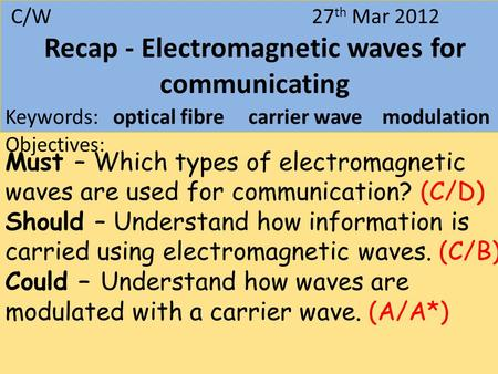 27 March 2012Digital Signals C/W 27 th Mar 2012 Recap - Electromagnetic waves for communicating Keywords: optical fibre carrier wave modulation Objectives: