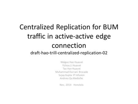 Centralized Replication for BUM traffic in active-active edge connection draft-hao-trill-centralized-replication-02 Weiguo Hao Huawei Yizhou Li Huawei.