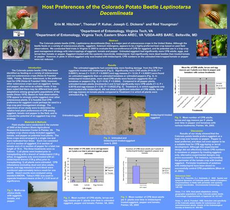 Host Preferences of the Colorado Potato Beetle Leptinotarsa Decemlineata Erin M. Hitchner 1, Thomas 2 P. Kuhar, Joseph C. Dickens 3 and Rod Youngman 1.