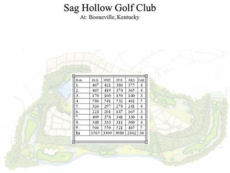 Sag Hollow Golf Club At: Booneville, Kentucky Sag Hollow Golf Club At: Booneville, Kentucky.